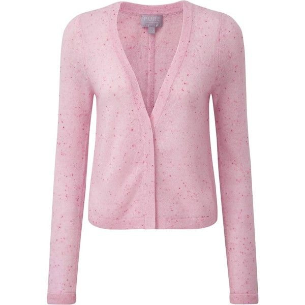 Pure Collection Aimee Gassato Cashmere Cardigan, Pink Fleck ...
