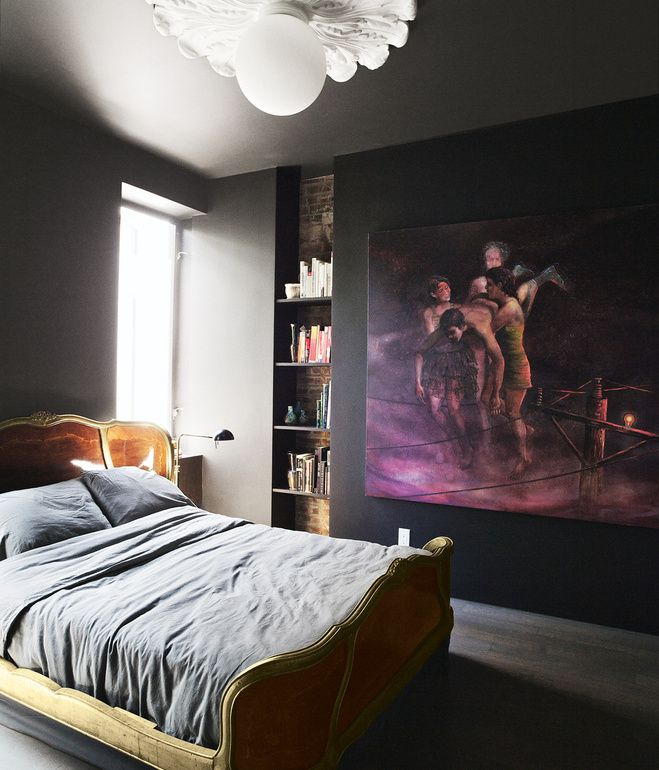 A Dark Cozy Moody Masculine Bedroom Lots Of Wood Dark: The Bedroom Is Tucked In The Back Of The Residence And
