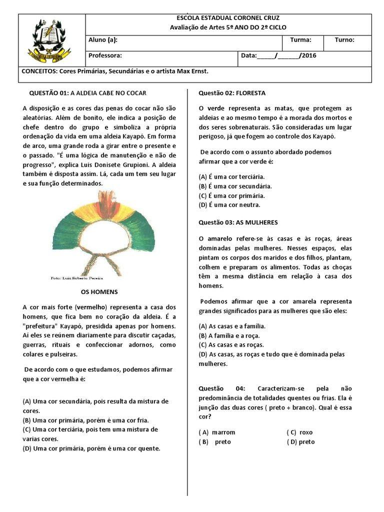 Avaliacao De Artes Direcionada Aos Alunos Do Ensino Fundamental I