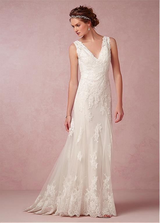 Lovely Elegant Tulle V neck Neckline Natural Waistline Sheath Wedding Dress With Lace Appliques