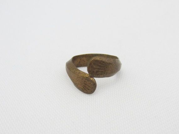Antique Indian Brass Carved Jewelry Ring Size by wandajewelry2013