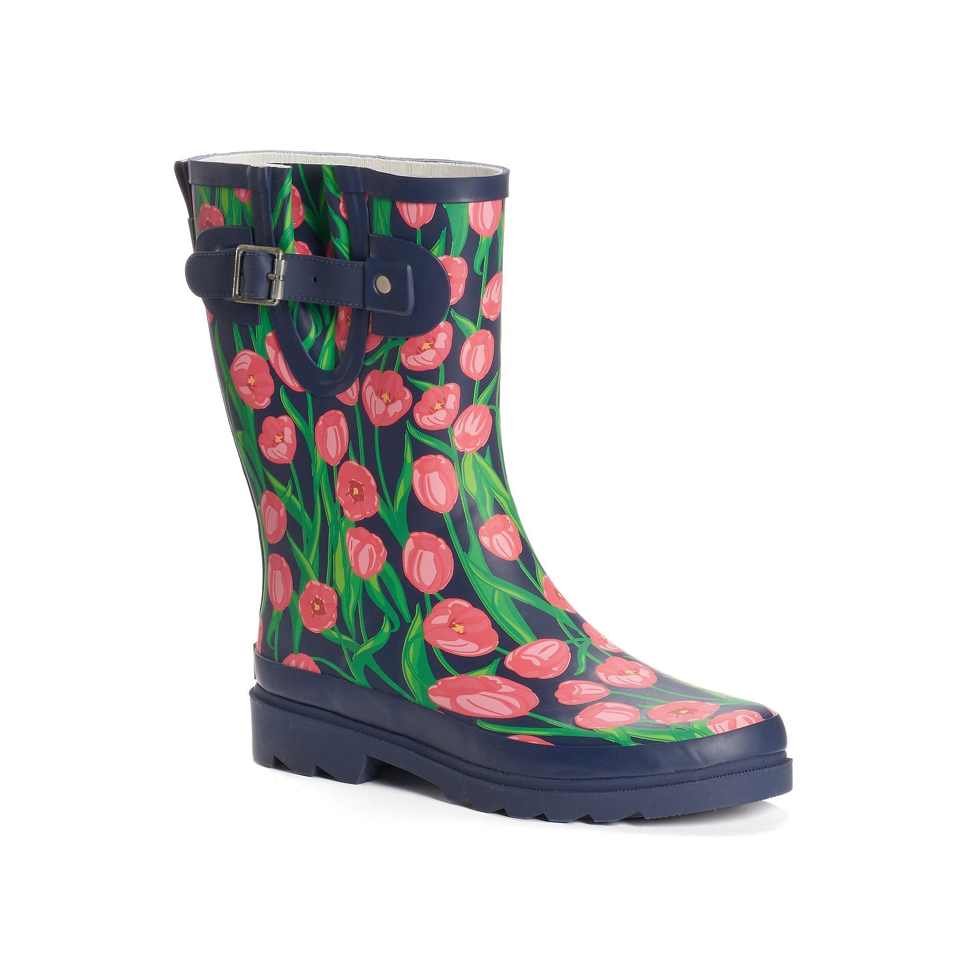 Western Chief Women's Graphic Print Water-Resistant Rain Boots, Size: 6, Med Blue