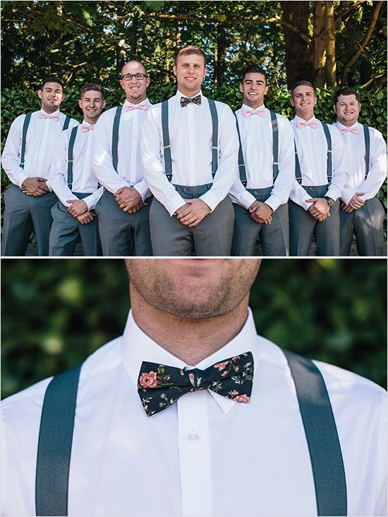 Gray and pink groomsman with bow ties and suspenders