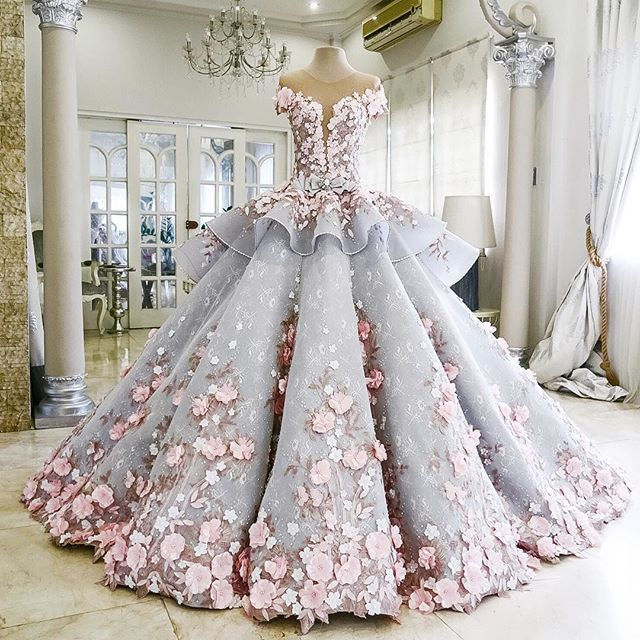 Princess Wedding Ball Gowns Luxury Floral Clothing Shoulderless Holy Dresses