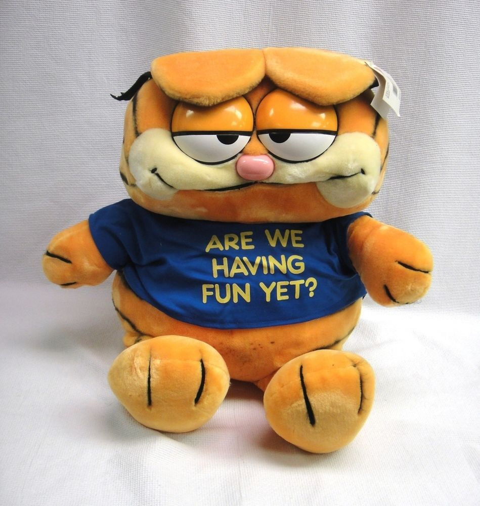 Garfield Plush Big 19 Giant Toy W Are We Having Fun Yet Blue Shirt