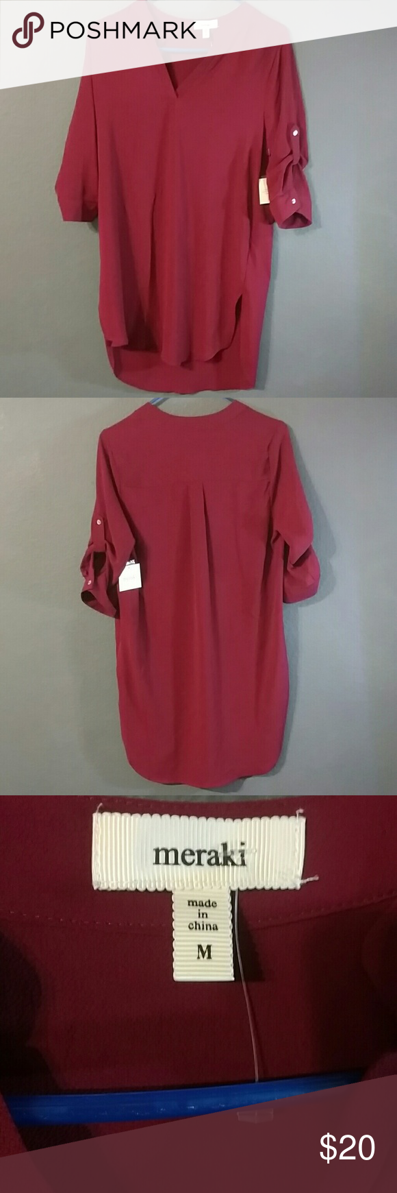 NWT High low shirt NWT. Burgundy.   ? Note: Please ask me before you buy or bundle wether this item is still available as I'm selling it elsewhere too. Thank you! ?? Meraki Dresses High Low