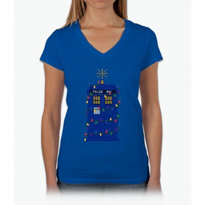 Happy Christmas From The Tardis Womens V-Neck T-Shirt