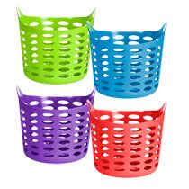 Bulk Colorful Plastic Laundry Baskets With Handles At Dollartree Com Plastic Container Storage Storage Baskets Blanket Storage Basket