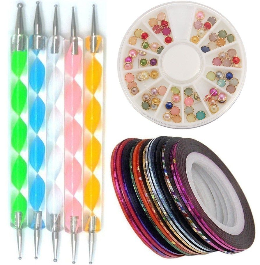 Nail Art Glitter Brush Dotting Pens Clipper Tools Nail Tips File Manicure Set