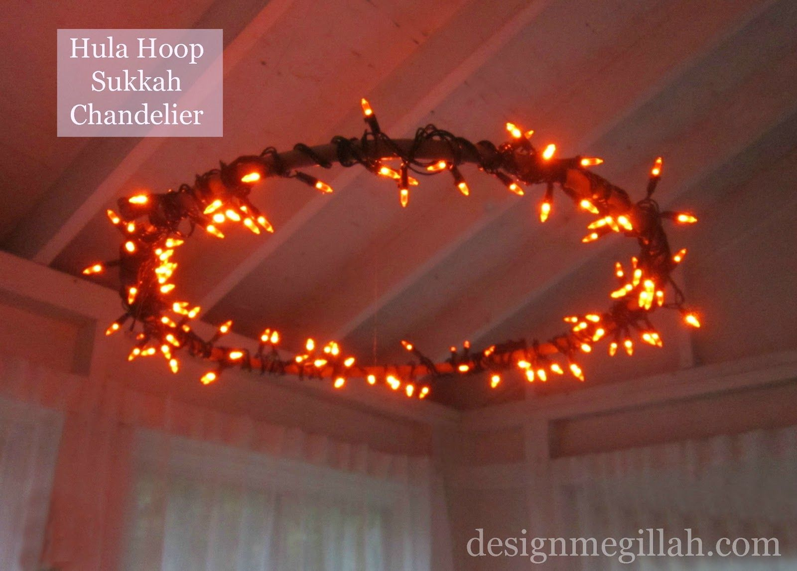 Diy hula hoop sukkah chandelier wow next year for sure light up your sukkah with this crafty diy sukkah chandelier aloadofball Choice Image