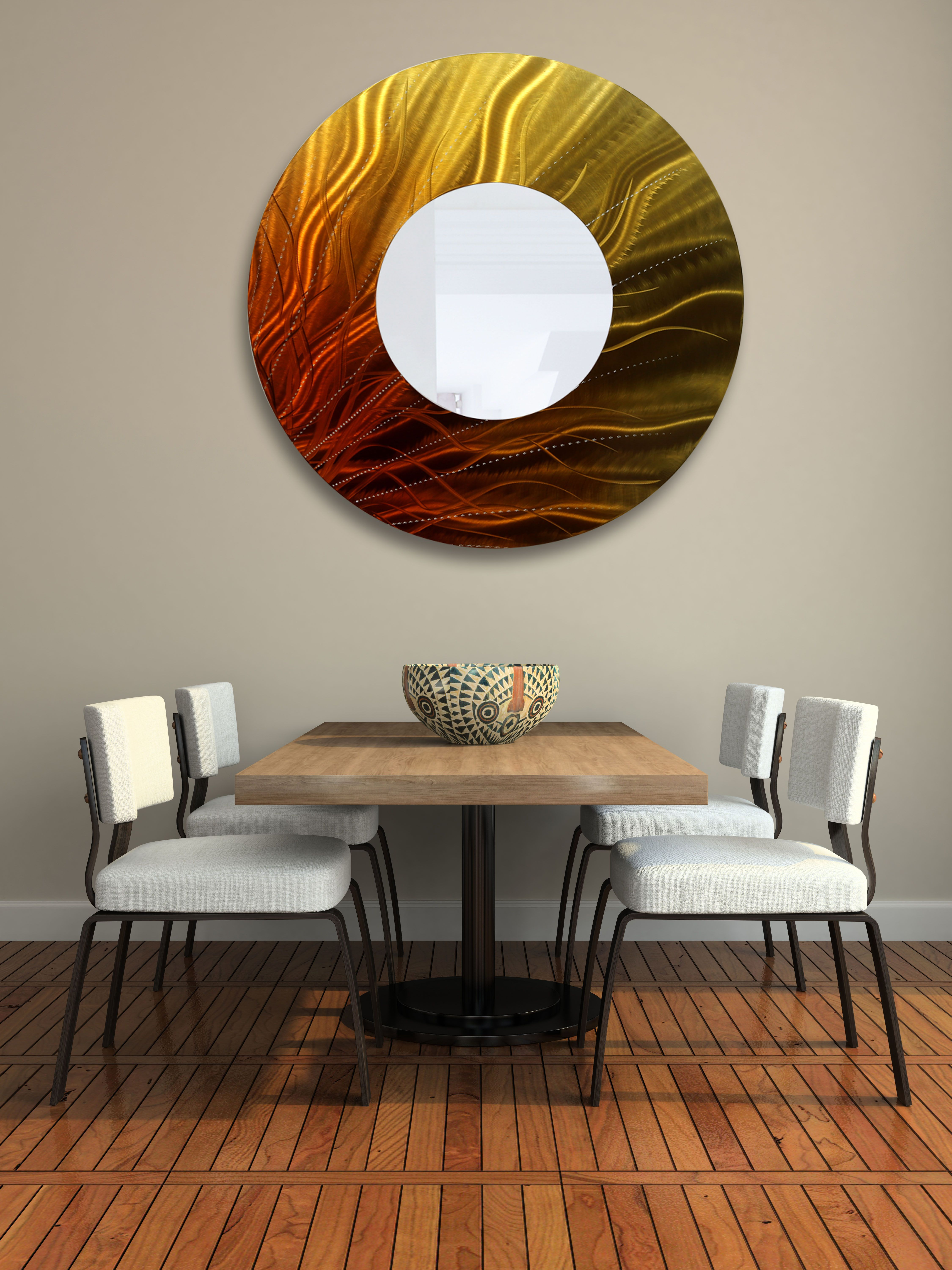 Gold orange and brown abstract metal wall art mirror accent by gold orange and brown abstract metal wall art mirror accent by jon allen metal amipublicfo Gallery