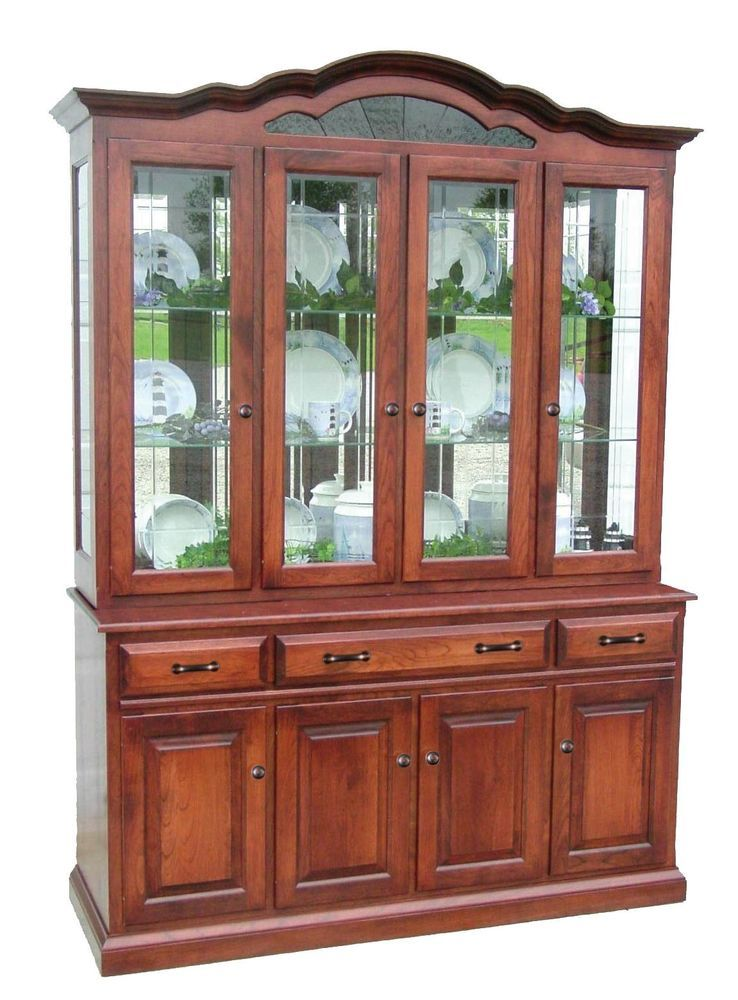 Amish Dining Room Hutch Traditional China Cabinet Solid Wood Furniture  #NewHickoryWholesale