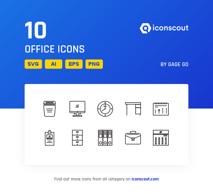 Download Office Icon Pack - 10 Line Icons | Office icon, Icon pack ...