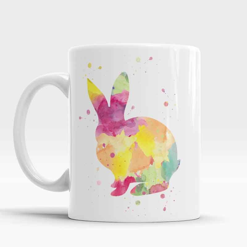 Bunny Mug Rabbit Mug Bunny Holiday Mug Watercolor Coffee Cup