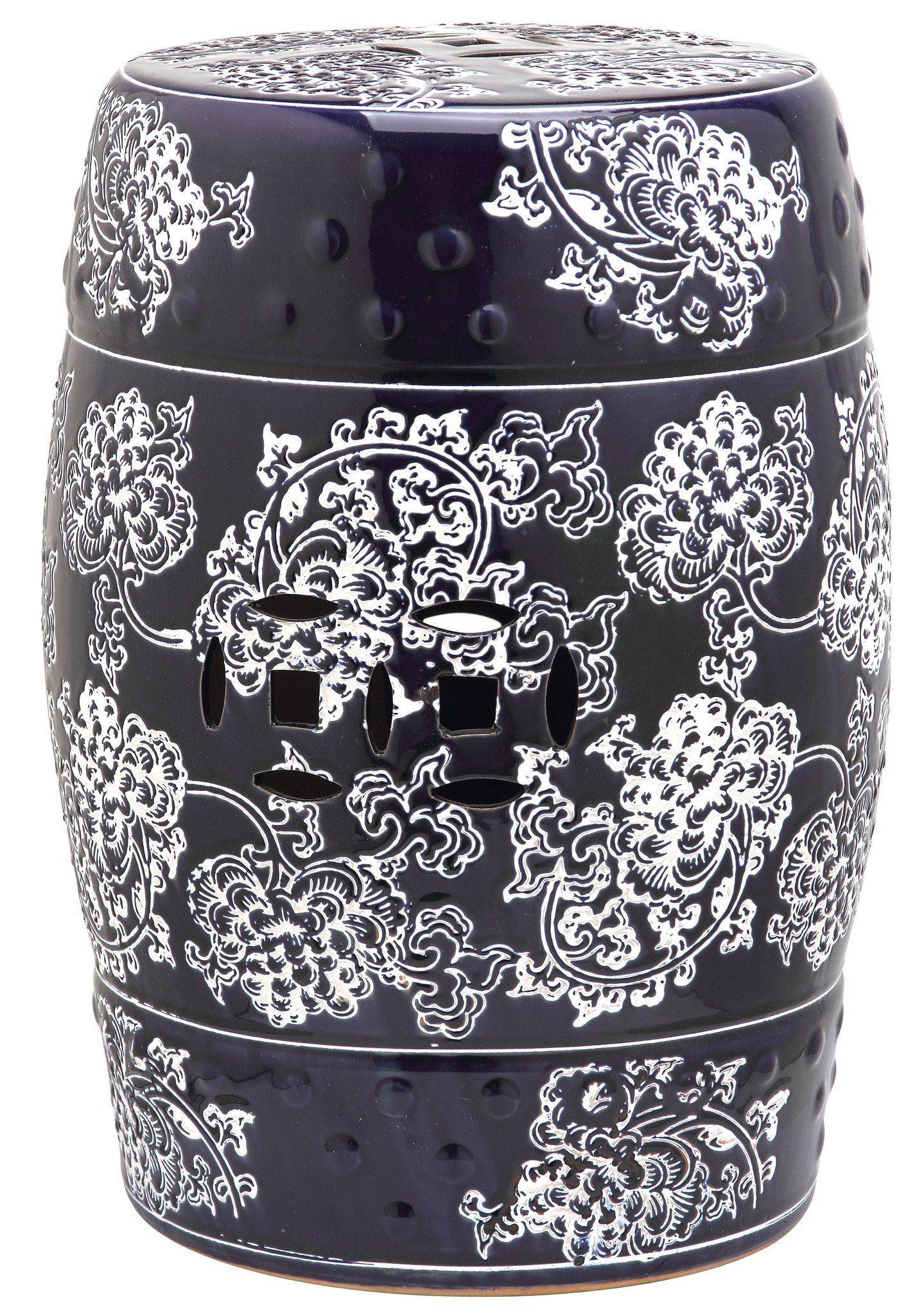 Navy & White Midnight Flower Garden Stool design by Safavieh