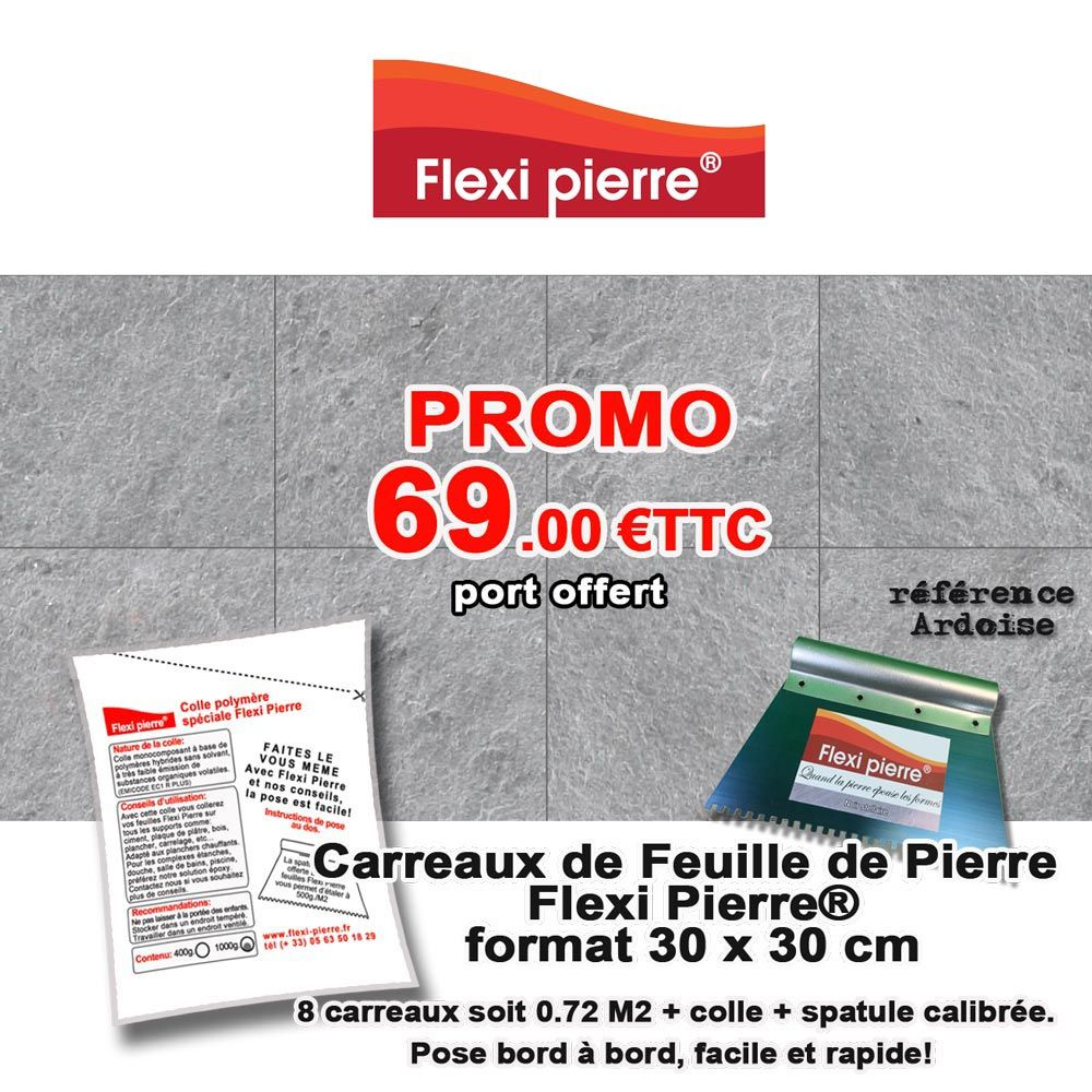 Carreaux 30x30 Cm Flexi Pierre Ardoise Colle Spatule Port Offert En 2020 Feuille De Pierre Ardoise Spatule