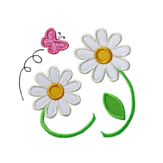 Daisy Flowers Applique Machine Embroidery Digital Design Spring ...