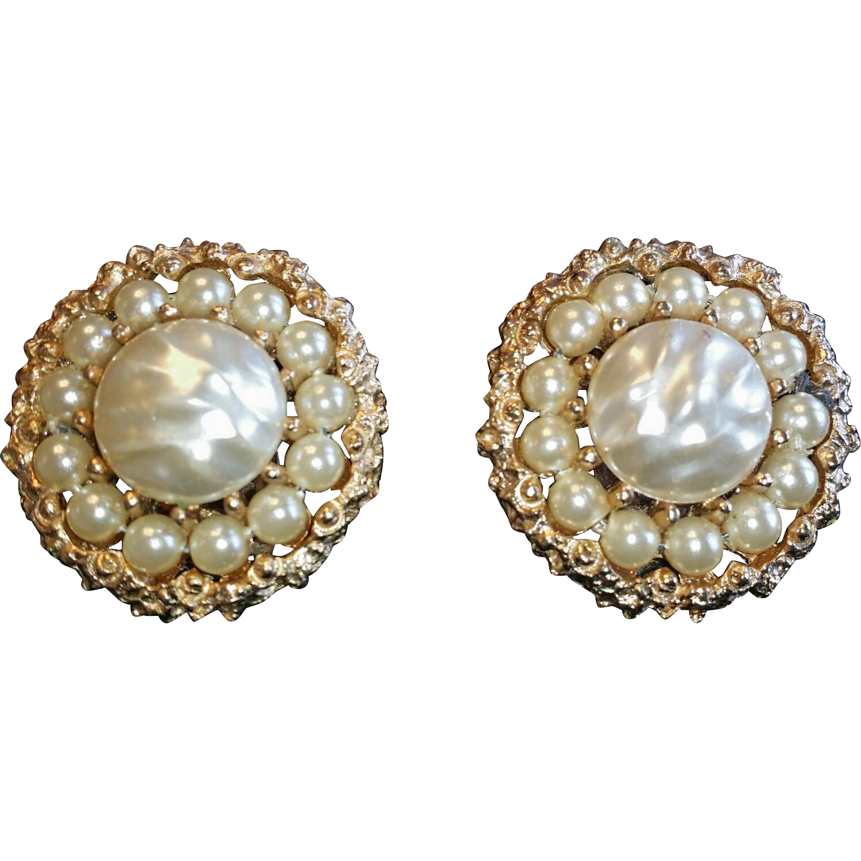 Kramer Faux Pearl and Rhinestone Earrings