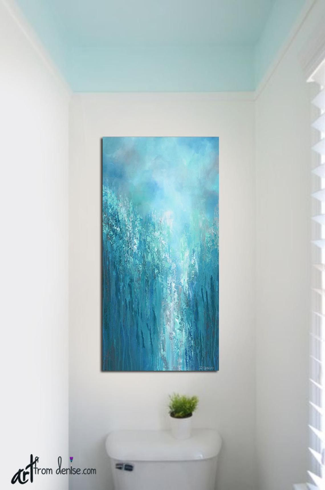 Blue And Gray Abstract Vertical Canvas Wall Art For Bathroom Or Home Decor Turquoise Aqua Bathroom Wall Art Canvas Wall Art Wall Canvas