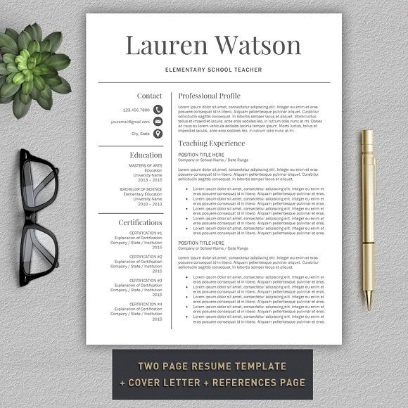Teacher Resume CV + Cover Letter by ProGraphicDesign on - teacher resume
