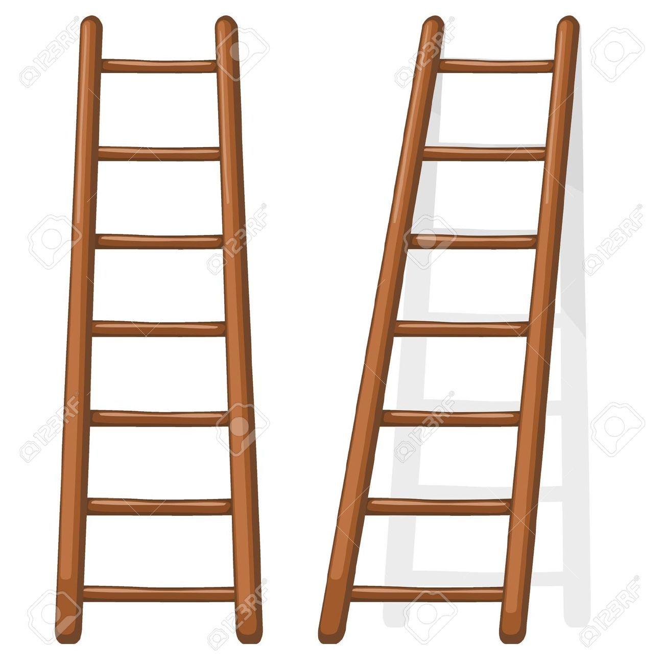 12870216 cartoon illustration of a wooden staircase stock - Escalera de madera de pintor ...
