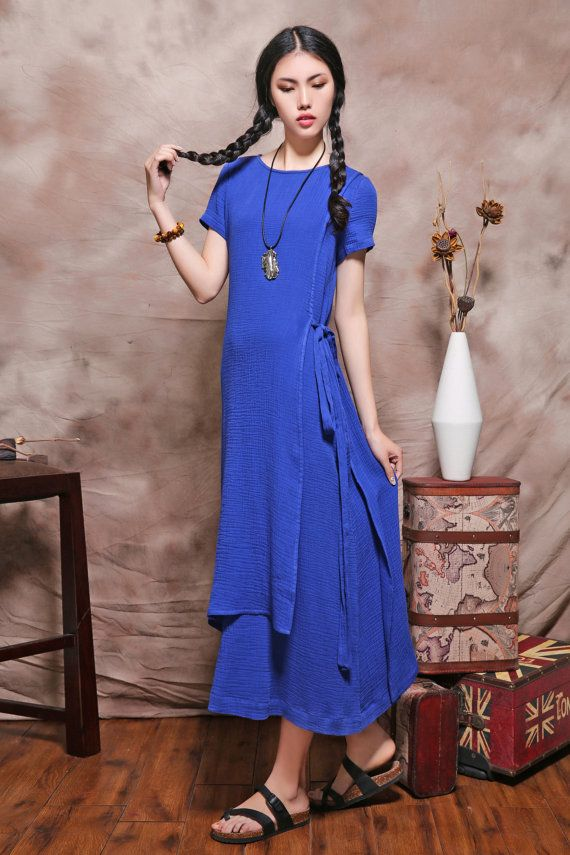 Asymmetrical dress, linen evening dress in blue / cocktail dress / long dress (Custom Made)