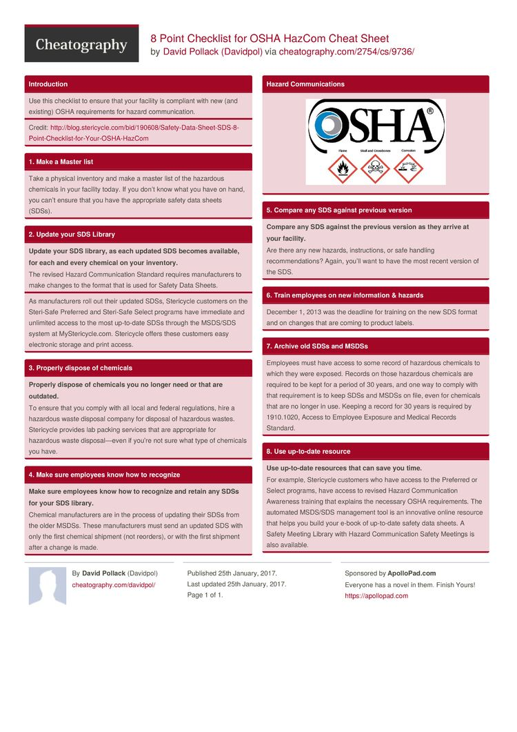 8 Point Checklist for OSHA Cheat Sheet by Davidpol