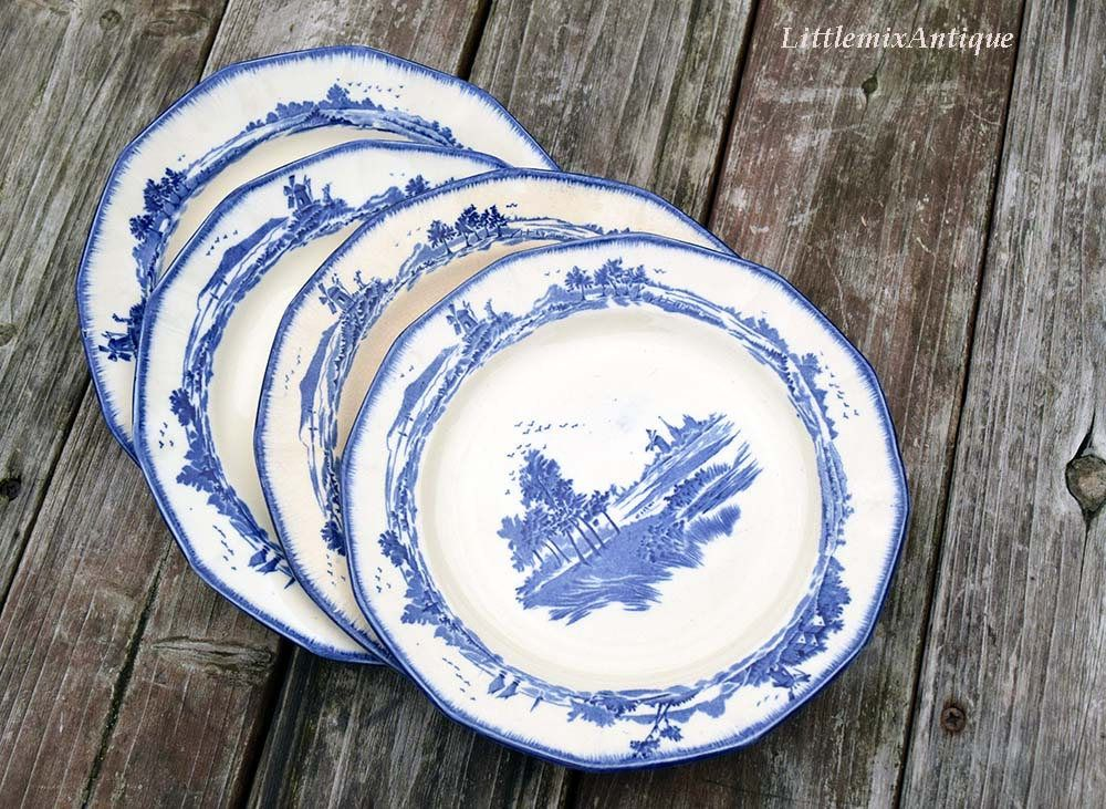 Set Of 4 Vintage Royal Doulton England Norfolk Blue And White Side Cake Bread Plates Retro English Tableware Collec Royal Doulton China Royal Doulton Tableware