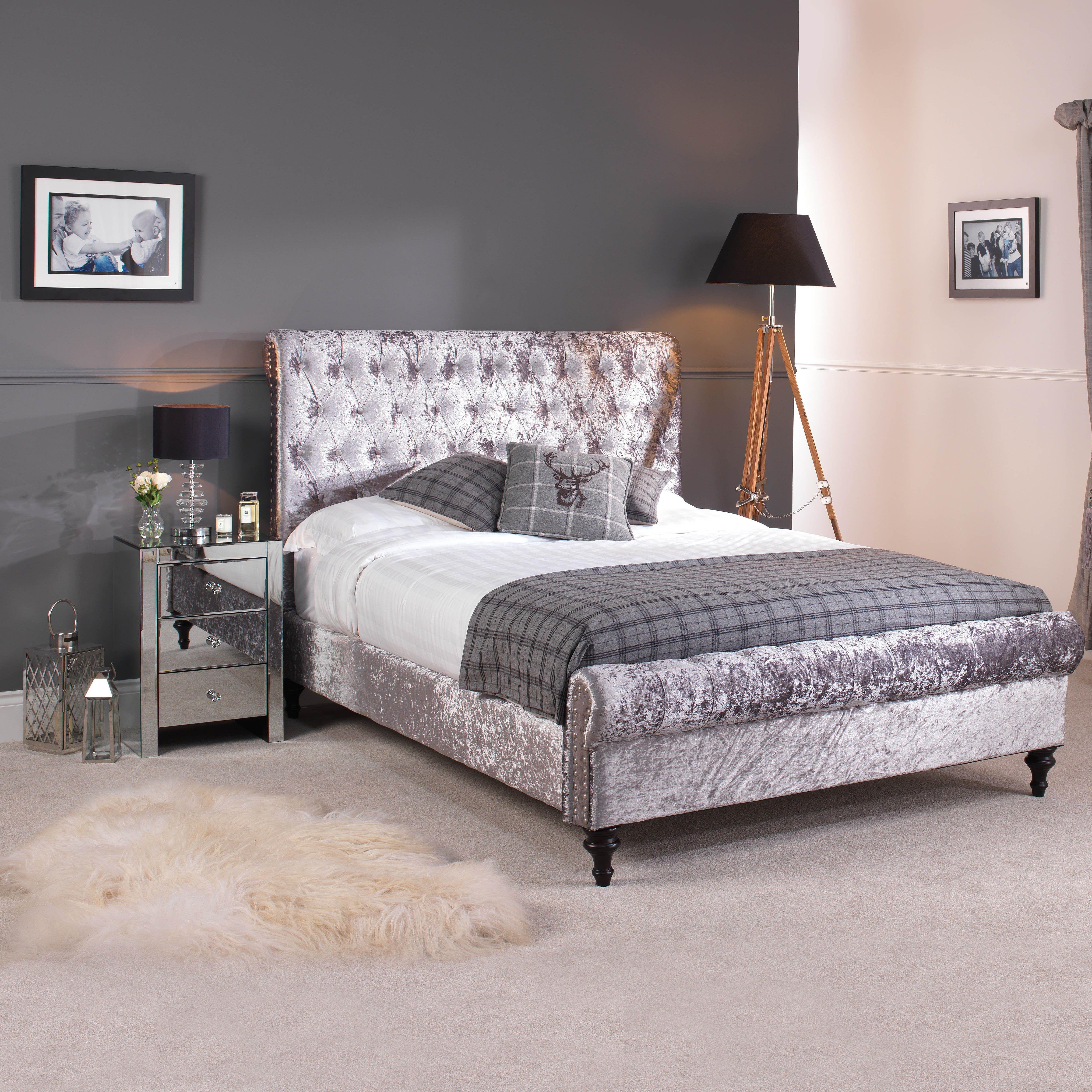 Go1220g 6 Super King Size Grey Premium Crushed Velvet Upholstered