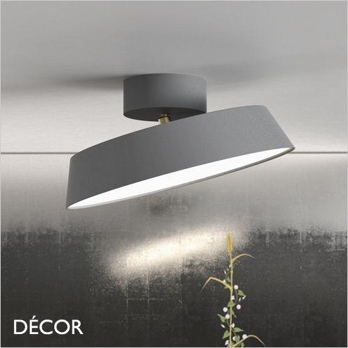 alba matt grey modern designer led ceiling light with an