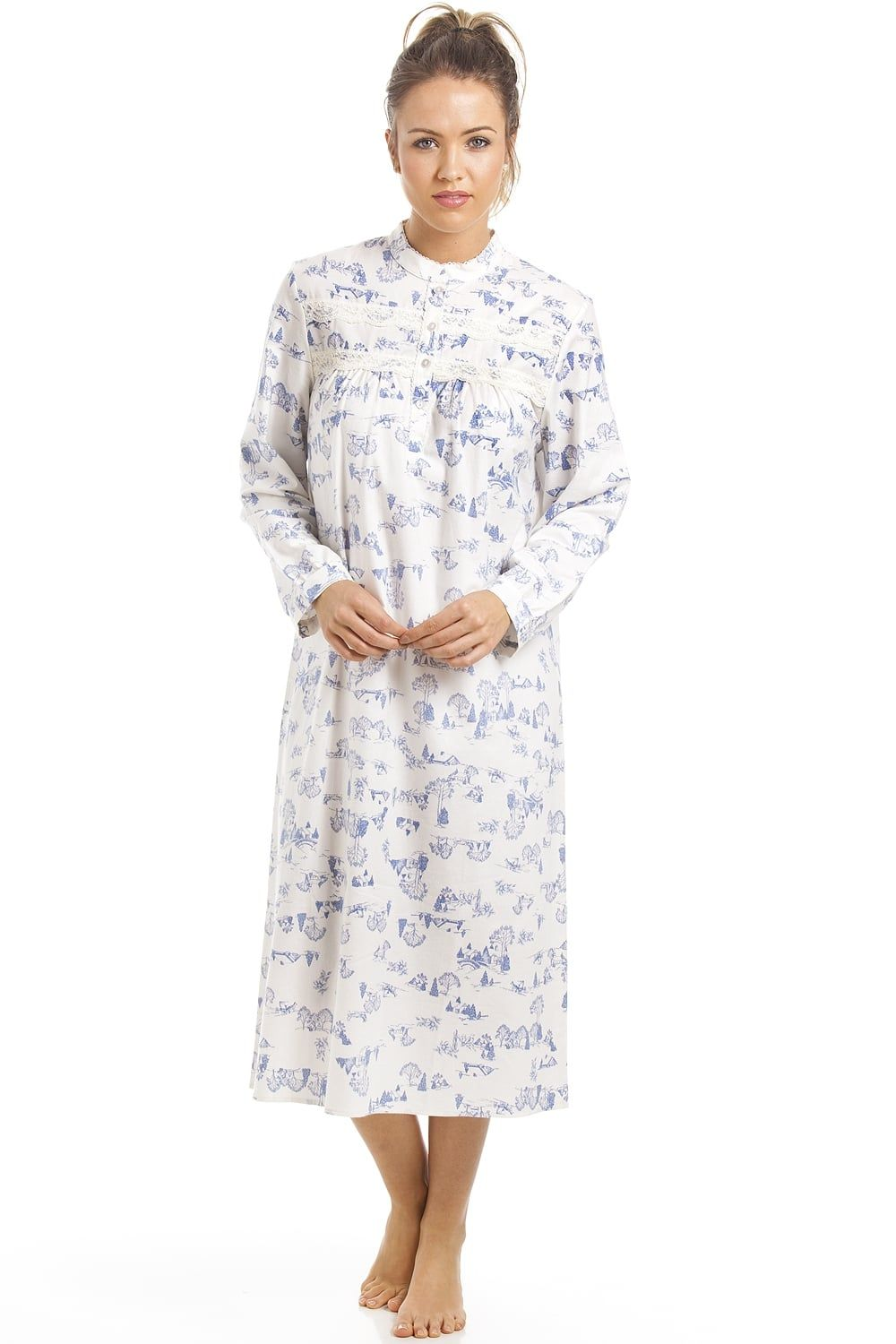 03fd26d16930 Classic Blue Country Cottage Print Brushed Cotton Nightdress ...