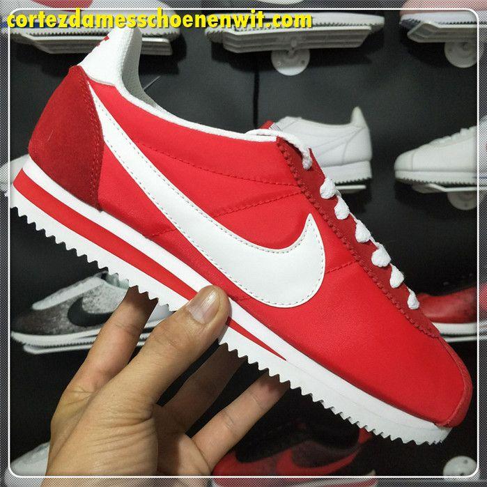 hot sale online 0a7d5 7e3a5 Nike Classic Cortez 476716-611 Nylon Dames Loopschoenen Rood Wit
