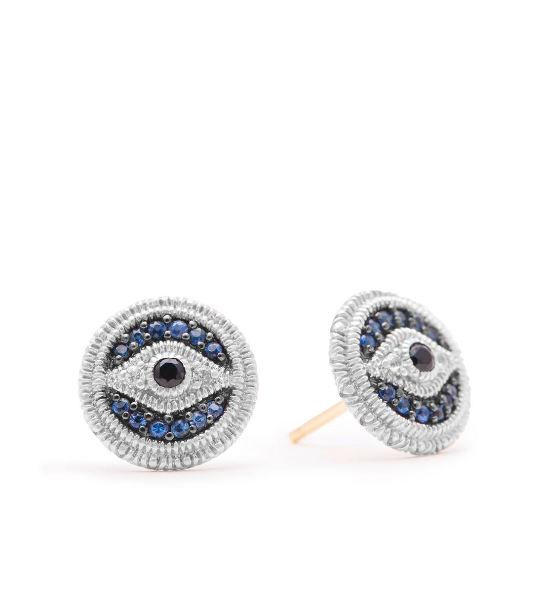 d877649e3 Judith Ripka - La Petite Pave Blue Sapphire Evil Eye Stud Earrings ...