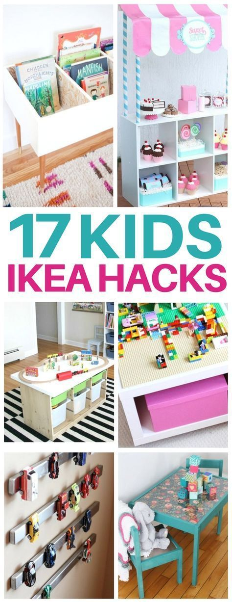 This list of kids ikea hacks is EXACTLY what I needed to redo my kids bedroom! Adorable diy furniture ideas like craft tables, kids toy organization, bookshelves, lego tables, and even play kitchens for so cheap! I am totally making the activity table that's under $40! #ikeahacks #kidsroom #redoingfurniture