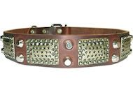 #Rottweiler #Leather #Collar with Nickel Cones & Brass Plates $79.90