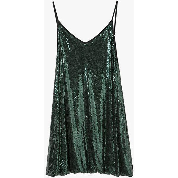 f33a3a4026ba Green Sequin Sleeveless Loose Mini Dress ( 51) ❤ liked on Polyvore  featuring dresses