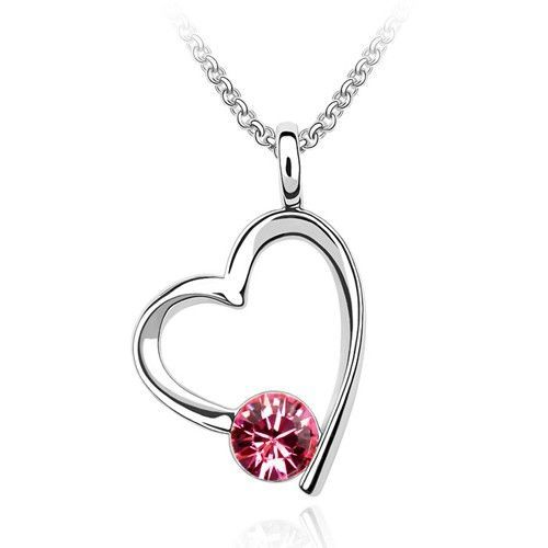 $39.95 - Rose Crystal Drop Heart Pendant Necklace with 18in 18k White RGP Chain