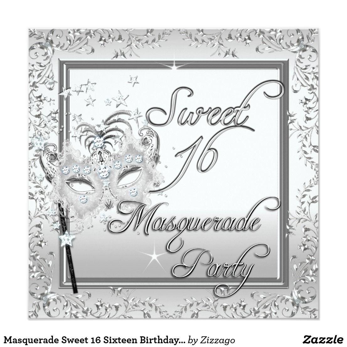 Masquerade Sweet 16 Sixteen Birthday White Card Masquerade Mask ...