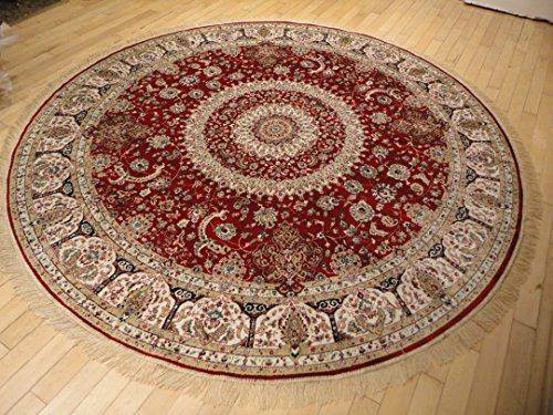 Stunning Silk Persian Area Rugs Traditional Design Red Tabriz 6x6 Round Shape Rug Red Circle Rugs Red Silk Persian Area Rugs Carpet Handmade Silk Persian Rugs