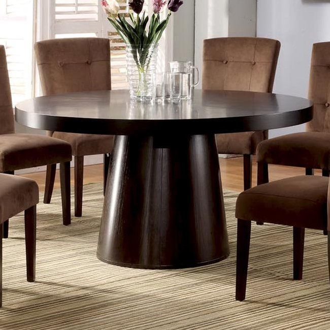 Furniture Of America Cm3849T Havana Round Dining Table Espresso Stunning 7 Piece Round Dining Room Set Inspiration Design