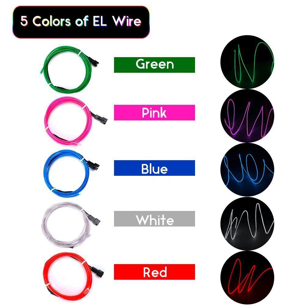 EL Wire ESCOLITE EL Wire Kit Neon Lights Battery Pack Christmas ...