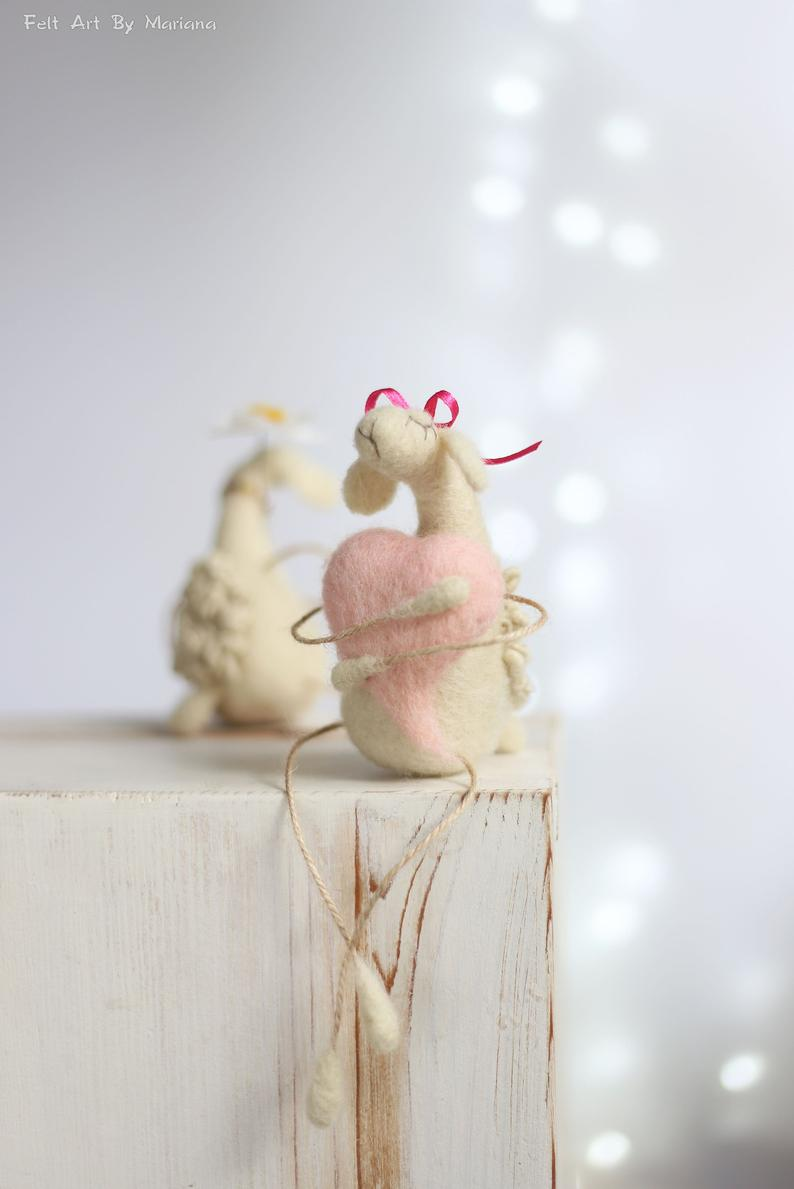 Valentine Needle Felted Animals Home Decoration Dreamy Waithe Bears With Color Scarf Needle Felted White Bears Valentine Gift Idea