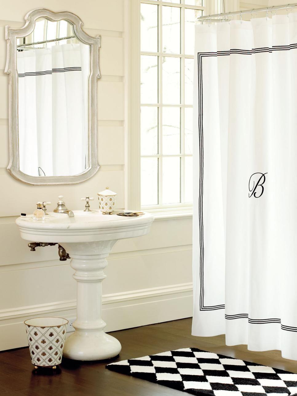A Monogrammed Shower Curtain By Ballard Designs Adds A Personal