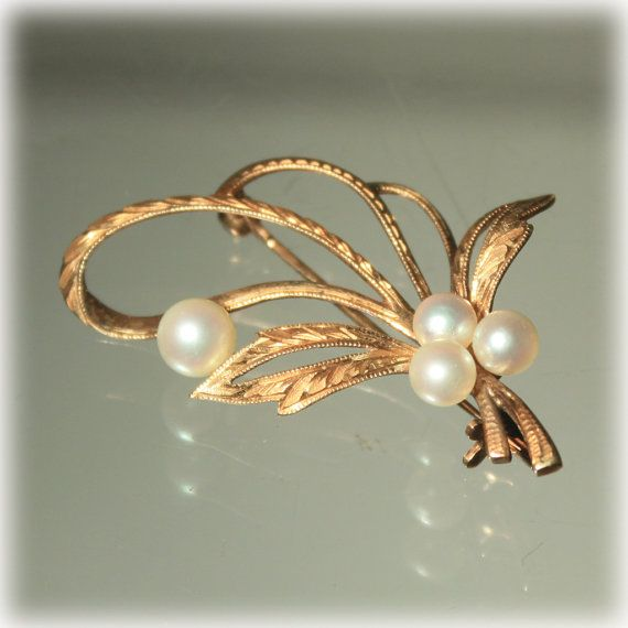 14k Rose Gold, Cultured Pearl, Leaf Berry, Brooch Pin, Etched Gold, Petite Delicate, Mid Century Classic, MCM