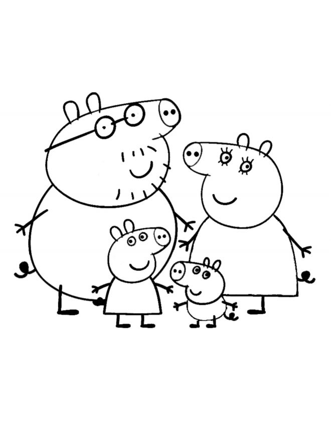 Peppa S Family Coloring Page Peppa Pig Party Pinterest
