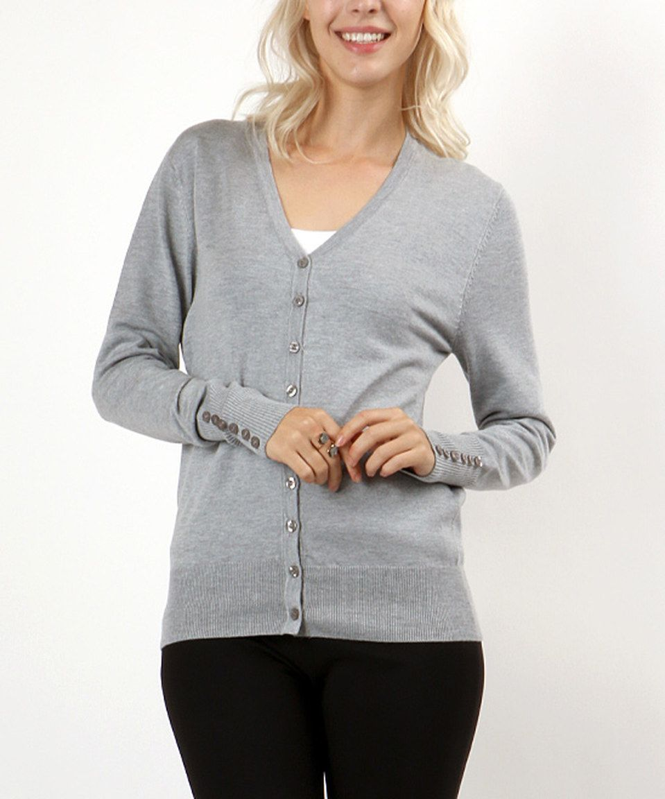 1d43c91cf This Zenana Heather Gray V-Neck Cardigan by Zenana is perfect ...