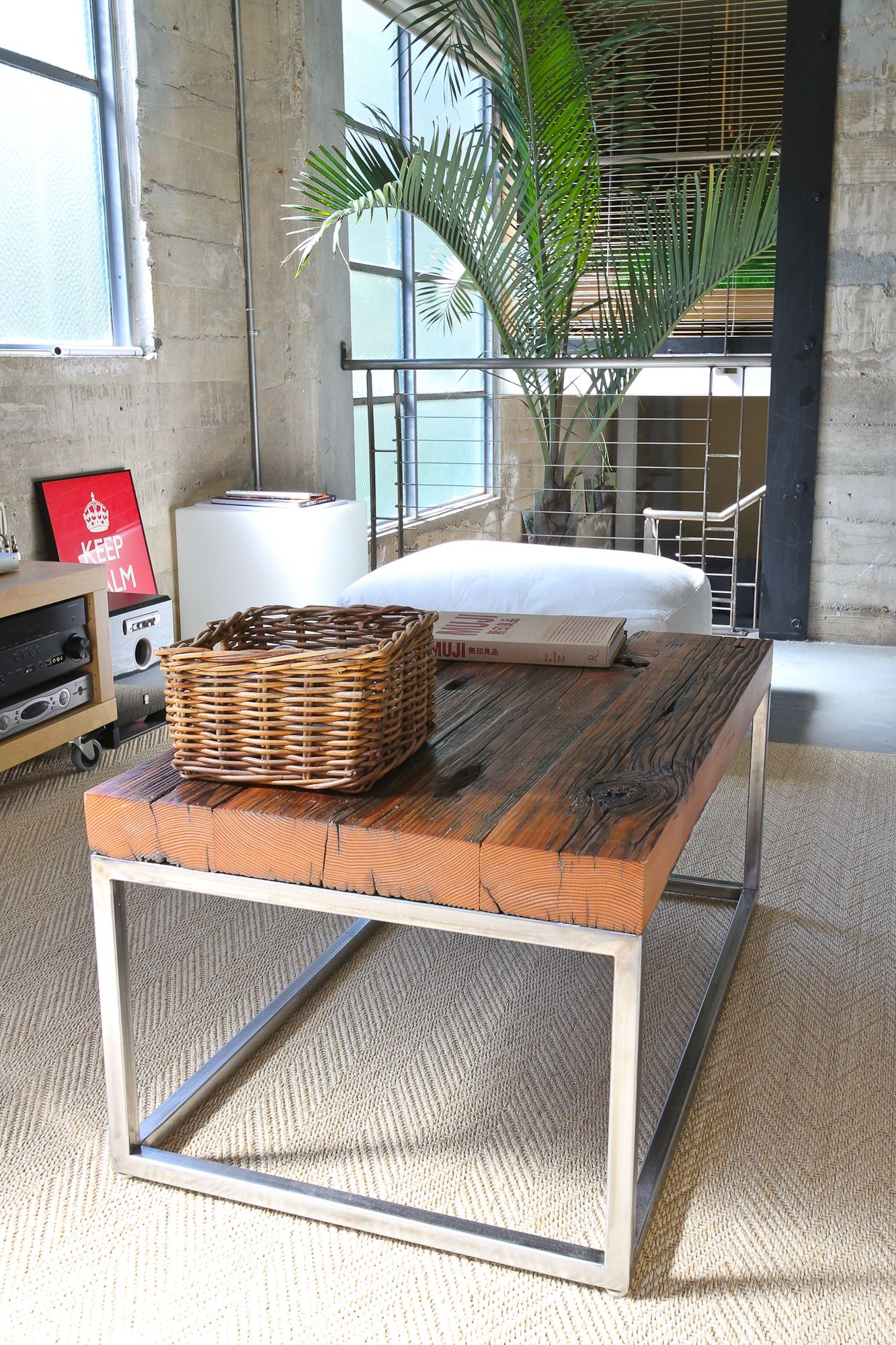 Colton coffee table reclaimed barnwood on a carbon steel