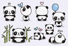 Premium Vector Clipart Kawaii Pandas Mignon Pandas Clipart