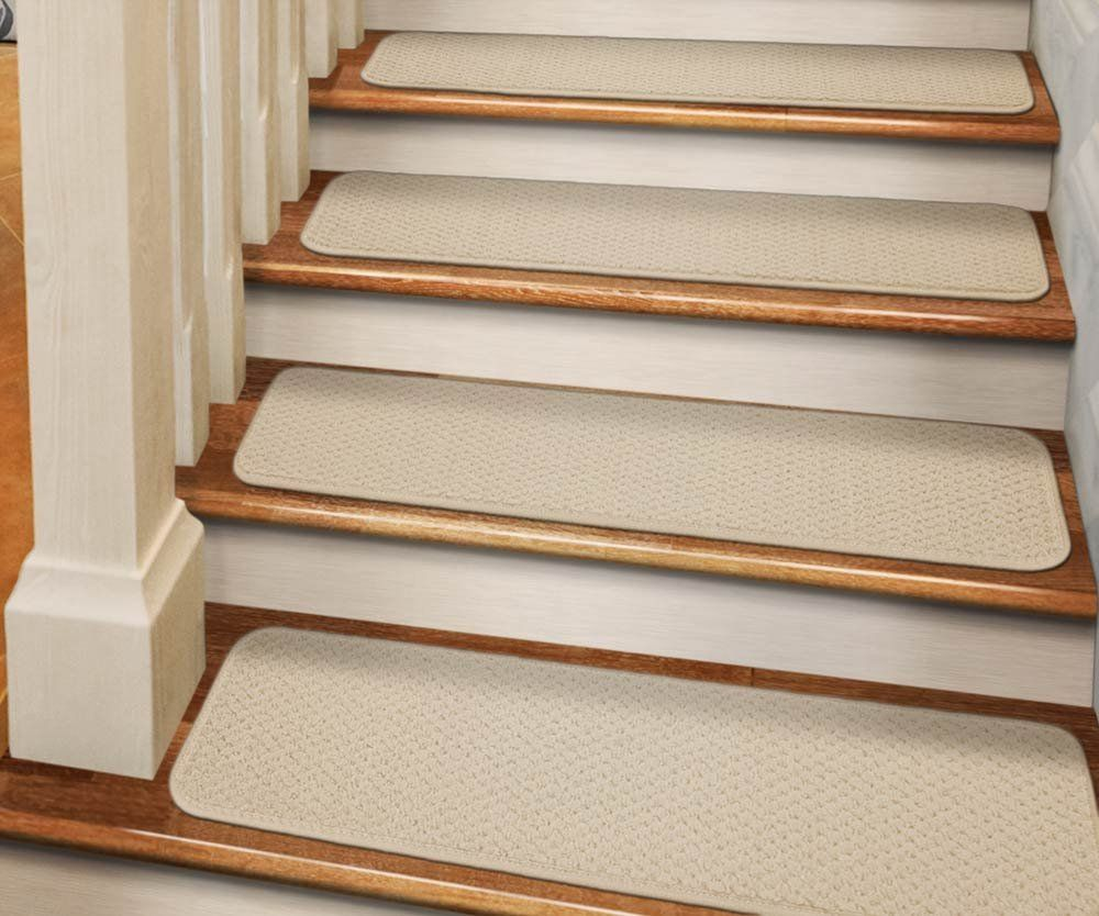 Best Set Of 12 Tape Down Carpet Stair Treads Ivory Cream 8 400 x 300