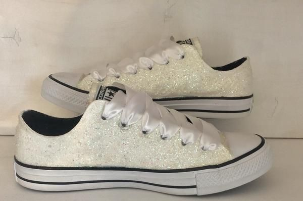 Womens Sparkly White or Ivory Glitter CONVERSE All Stars Bride Wedding  Shoes Sneakers - Glitter Shoe Co 5110ae580